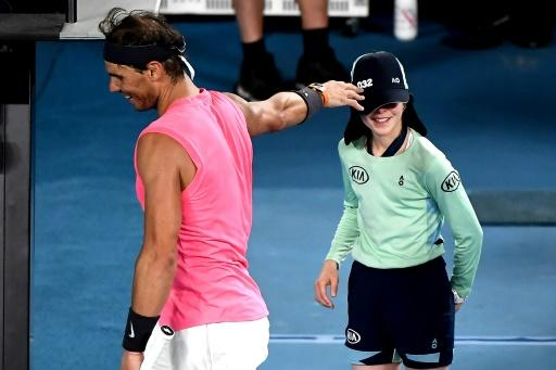 Spain's Rafael Nadal showed his soft side as he consoled a ballgirl he hit by mistake