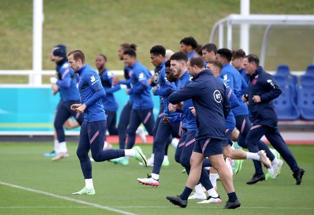 England captain Harry Kane (left) during a training session at St George's Park
