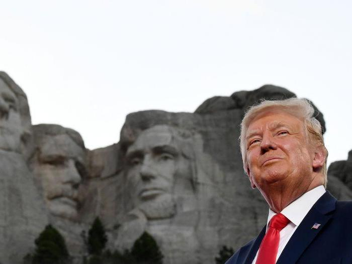 President was recently presented with a 4ft replica of Mount Rushmore with his face on it