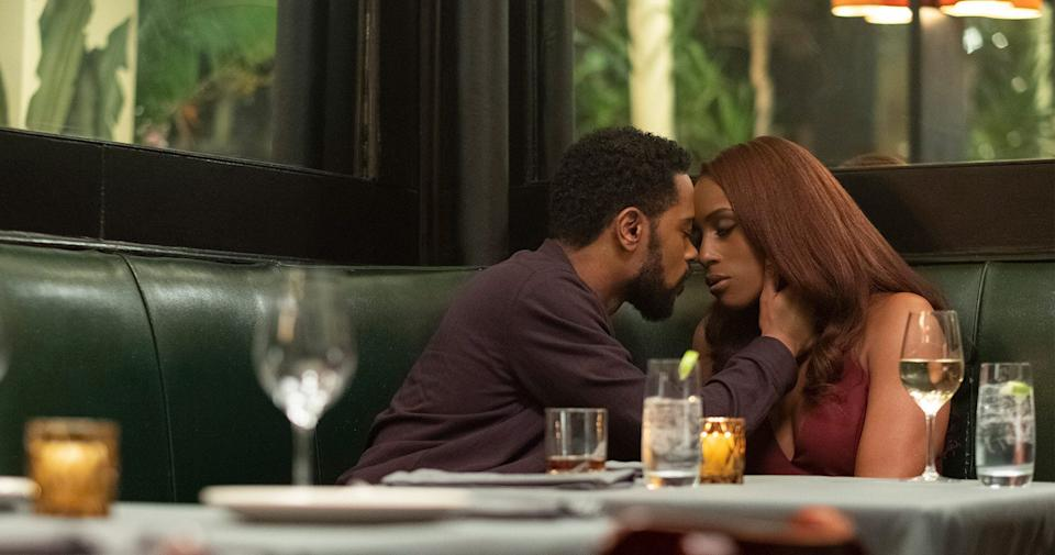 """Mae (Issa Rae) and Michael (LaKeith Stanfield) on their first date in """"The Photograph."""" (Photo: NBC Universal)"""