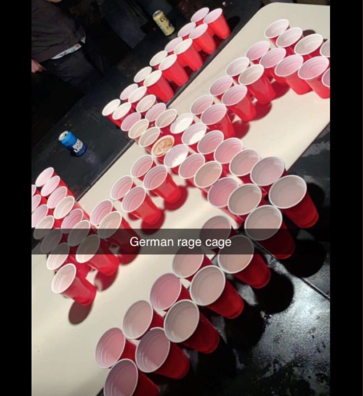 Newport Harbor High School students were identified in photos showing red Solo cups arranged in the shape of a <span>swastika.</span> (Photo: Twitter/itsavarose)