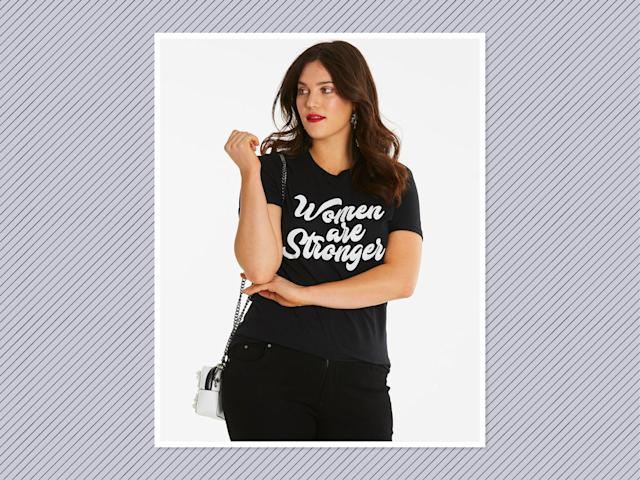 "<p>Women Are Stronger T-Shirt, $27, <a href=""https://www.simplybe.com/en-us/products/women-are-stonger/p/CM867#v=color%3ACM867_BLACK%7C"" rel=""nofollow noopener"" target=""_blank"" data-ylk=""slk:Simply Be"" class=""link rapid-noclick-resp"">Simply Be</a> (Photo: Simply Be) </p>"