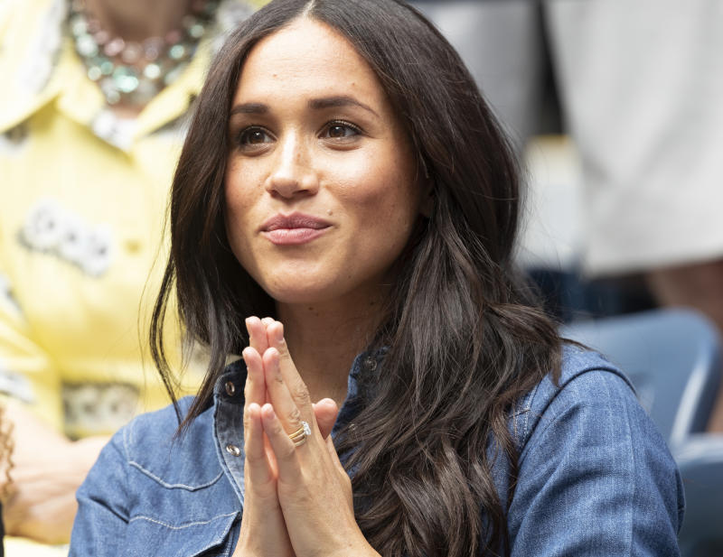 BILLIE JEAN KING NATIONAL TENNIS, NEW YORK, UNITED STATES - 2019/09/07: Duchess of Sussex Meghan Markle attends women's final match at US Open Championships between Serena Williams (USA) and Bianca Andreescu (Canada) at Billie Jean King National Tennis Center. (Photo by Lev Radin/Pacific Press/LightRocket via Getty Images)