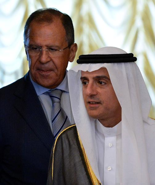 Russian Foreign Minister Sergei Lavrov (left) and his Saudi counterpart Adel al-Jubeir hold talks in Moscow, on August 11, 2015 (AFP Photo/Yuri Kadobnov)