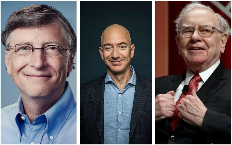 The three richest men in the United States: Bill Gates, Jeff Bezos and Warren Buffett