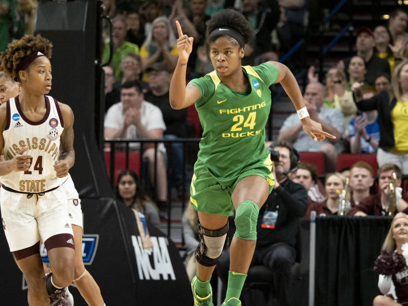 PORTLAND, OR - MARCH 31: Oregon Ducks forward Ruthy Hebard (24) reacts after making a basket during the NCAA Division I Women's Championship Elite Eight round basketball game between the Oregon Ducks and Mississippi State Bulldogs on March 31, 2019 at Moda Center in Portland, Oregon. (Photo by Joseph Weiser/Icon Sportswire via Getty Images)
