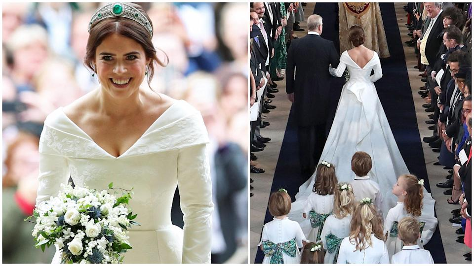 <p>Scroll through to see all the best photos of Princess Eugenie's royal wedding dress. </p>