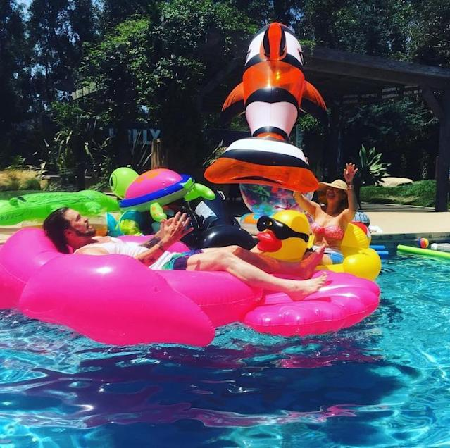 "<p>The singer captured her parents, Billy Ray and Tish, clowning in pool float heaven. ""Mama and Daddy playin catch w Nemo!"" Miley wrote. ""Life is beautiful! … Never grow up!!!!!"" If they are anything like their famous daughter, they won't! (Photo: <a href=""https://www.instagram.com/p/BW3TioWhTtk/?taken-by=mileycyrus"" rel=""nofollow noopener"" target=""_blank"" data-ylk=""slk:Miley Cyrus via Instagram"" class=""link rapid-noclick-resp"">Miley Cyrus via Instagram</a>) </p>"