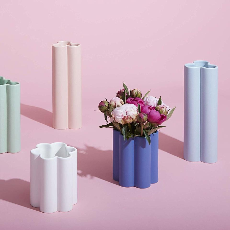 """The """"congratulations"""" flowers pour in post engagement, but those standard glass vases can be horrendousto look at. Give them one of these fun and playful vases to swap out and jazz up all those bouquetsdisplayed. —<em>Shilpa Prabhakar Nadella, fashion market director</em> $28, Amazon. <a href=""""https://www.amazon.com/Now-House-Jonathan-Adler-Pottery/dp/B07G5QQ3TB/ref=sr_1_5"""">Get it now!</a>"""