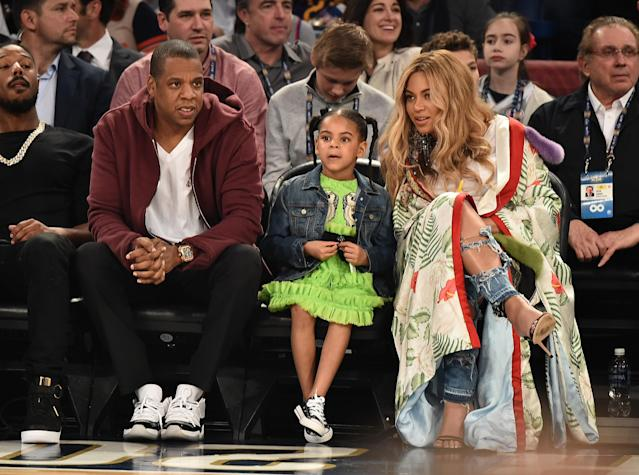 Jay Z, Blue Ivy Carter and Beyoncé Knowles attend the 66th NBA All-Star Game at Smoothie King Center on February 19, 2017 in New Orleans, Louisiana. (Photo by Theo Wargo/Getty Images)