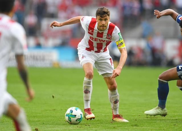 Germany defender Jonas Hector has signed a new contract with Cologne even though Sunday's draw with Schalke means relegation is almost certain (AFP Photo/Patrik STOLLARZ)