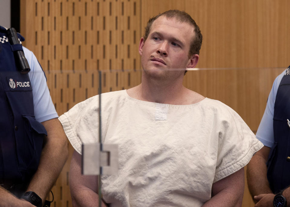 Brenton Tarrant, the man charged in the Christchurch mosque shootings, appears in court in Christchurch, New Zealand, on March 16. (Photo: Mark Mitchell/AP)