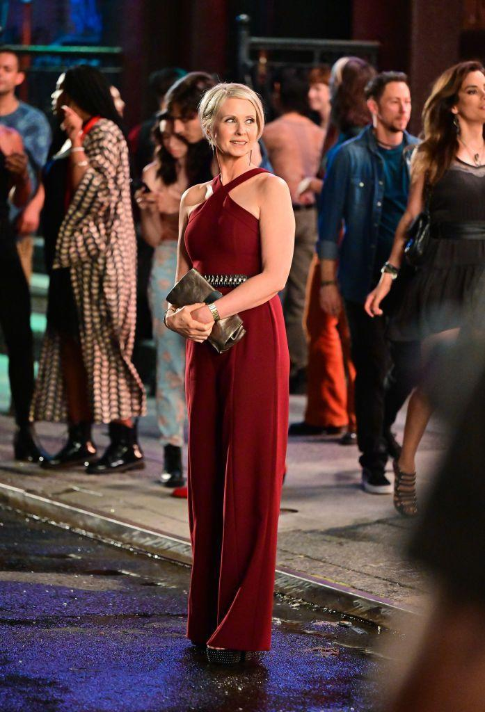 <p>Anyone else obsessed with 2021 Miranda Hobbes nighttime look of a burgundy halter jumpsuit by Likely NYC.</p>