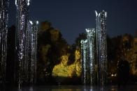 An art installation commemorating victims of the Babi Yar massacre during commemorative events marking the 80th anniversary of the Babi Yar massacre of Kyiv Jews perpetrated by German occupying forces in 1941 in Kyiv, Ukraine, Wednesday, Oct. 6, 2021. (Ukrainian Presidential Press Office via AP)