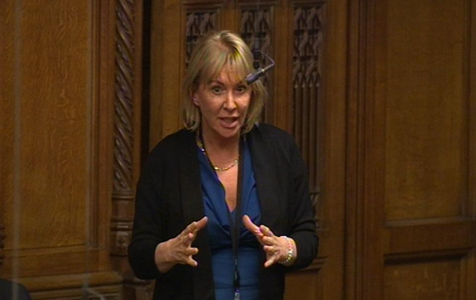 Nadine Dorries MP speaks during a sitting of the house motion in the House of Commons in London as the Government plans to cancel Prime Minister's Questions so that senior ministers can attend Baroness Thatcher's funeral.