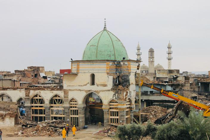 A photo of the original, historic al-Nuri mosque being stabilized in December 2019. Photo: Hadani Ditmars.