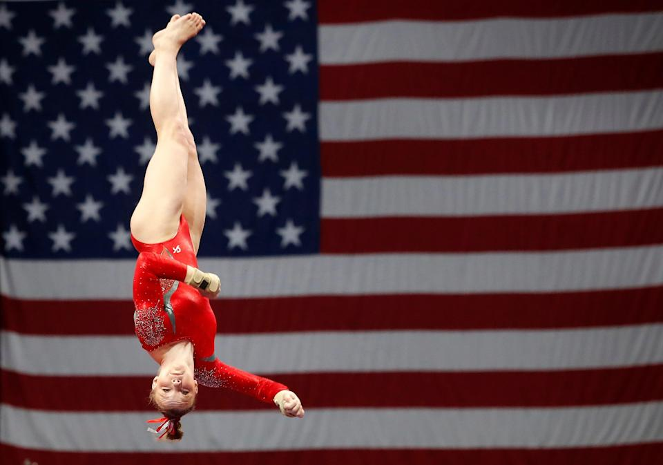 Jade Carey competes on the vault during the U.S. Gymnastics Championships on Aug 17, 2018, at the TD Garden in Boston, Massachusetts.