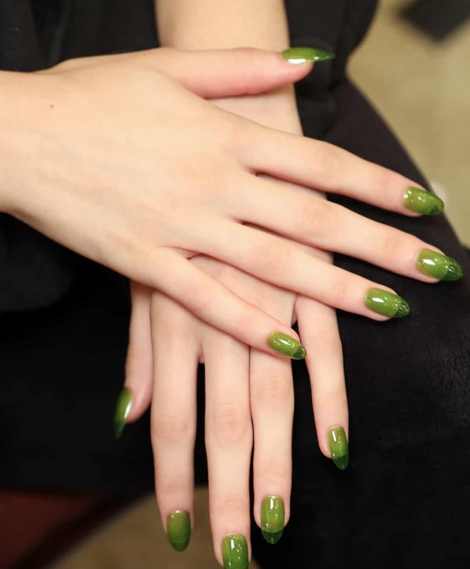 Slime green is still going strong as a cool-girl fave, and it looks almost ladylike when done in long, translucent acrylics like at the Sandy Liang show.