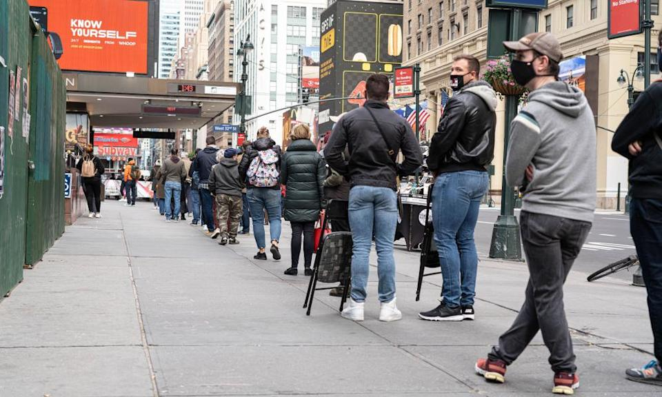 Voters queue outside Madison Square Garden in New York