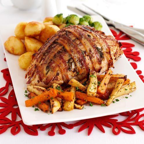 "<p>A clever choice if you've never roasted a turkey before. No bones, easy to carve, and it takes less time to cook.</p><p><strong>Recipe: <a href=""https://www.goodhousekeeping.com/uk/food/recipes/a535658/glazed-turkey-crown/"" rel=""nofollow noopener"" target=""_blank"" data-ylk=""slk:Glazed turkey crown"" class=""link rapid-noclick-resp"">Glazed turkey crown</a></strong></p>"