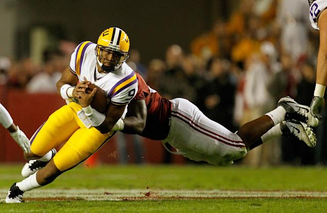 TUSCALOOSA, AL - NOVEMBER 05: Jordan Jefferson #9 of the LSU Tigers is sacked by Damion Square #92 of the Alabama Crimson Tide during the game at Bryant-Denny Stadium on November 5, 2011 in Tuscaloosa, Alabama. (Photo by Streeter Lecka/Getty Images)
