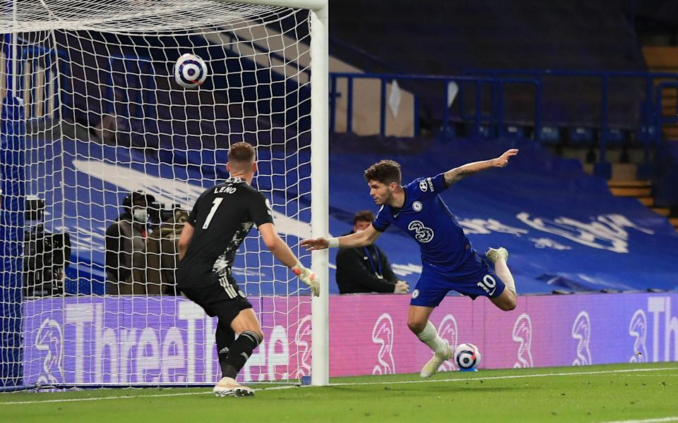 Christian Pulisic of Chelsea scores a goal past Bernd Leno of Arsenal which is later disallowed due to offside following a VAR review - Marc Atkins/Getty Images