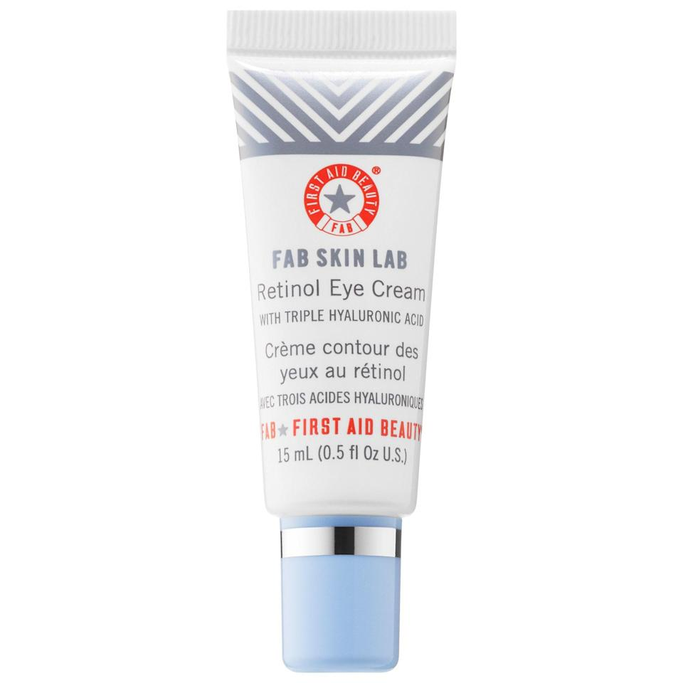 """<p><strong>First Aid Beauty</strong></p><p>sephora.com</p><p><strong>$42.00</strong></p><p><a href=""""https://go.redirectingat.com?id=74968X1596630&url=https%3A%2F%2Fwww.sephora.com%2Fproduct%2Ffab-skin-labe-retinol-eye-cream-triple-hyaluronic-acid-P442713&sref=https%3A%2F%2Fwww.cosmopolitan.com%2Fstyle-beauty%2Fbeauty%2Fg32869915%2Fbest-retinol-eye-cream%2F"""" rel=""""nofollow noopener"""" target=""""_blank"""" data-ylk=""""slk:Shop Now"""" class=""""link rapid-noclick-resp"""">Shop Now</a></p><p>If the thought of using retinol around your dry, delicate eye area freaks you out, try starting with this ultra-gentle and hydrating retinol eye cream. The formula is<strong> infused with <a href=""""https://www.cosmopolitan.com/style-beauty/beauty/g28948492/best-hyaluronic-acid-serum/"""" rel=""""nofollow noopener"""" target=""""_blank"""" data-ylk=""""slk:hyaluronic acid"""" class=""""link rapid-noclick-resp"""">hyaluronic acid</a> to draw moisture to the skin for long-lasting hydration</strong> and an instant plumping effect, and the retinol it uses is actually encapsulated, making it extra gentle on skin.</p>"""