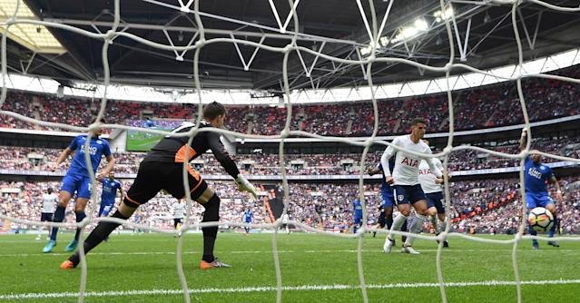"Soccer Football - Premier League - Tottenham Hotspur vs Leicester City - Wembley Stadium, London, Britain - May 13, 2018 Tottenham's Erik Lamela scores their second goal REUTERS/Dylan Martinez EDITORIAL USE ONLY. No use with unauthorized audio, video, data, fixture lists, club/league logos or ""live"" services. Online in-match use limited to 75 images, no video emulation. No use in betting, games or single club/league/player publications. Please contact your account representative for further details."