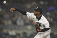 New York Yankees' Luis Severino delivers a pitch during the eighth inning of a baseball game against the Texas Rangers Tuesday, Sept. 21, 2021, in New York. (AP Photo/Frank Franklin II)