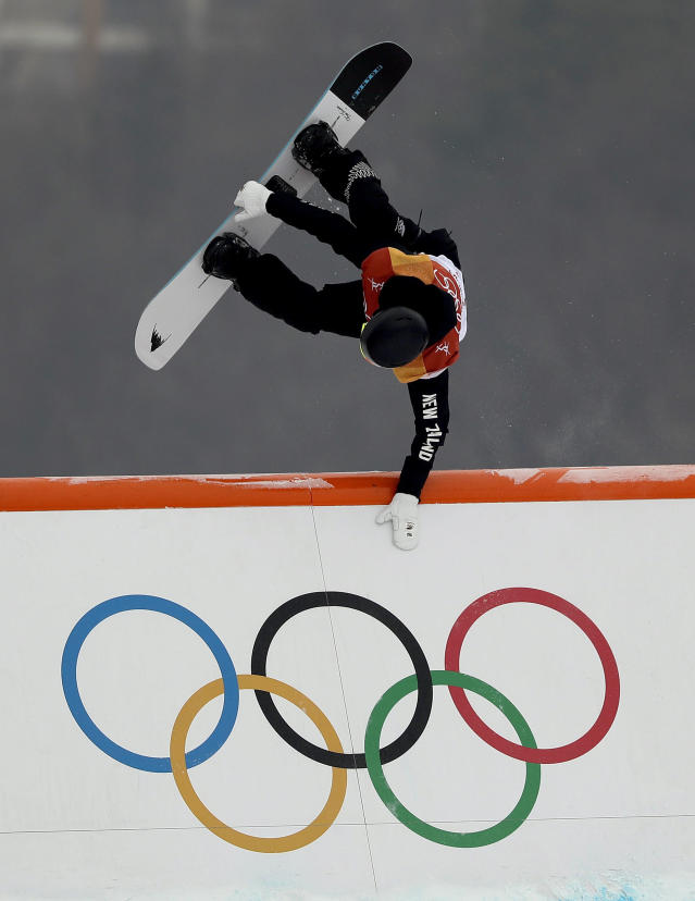 <p>Carlos Garcia Knight, of New Zealand, runs the course during the men's slopestyle qualifying at Phoenix Snow Park at the 2018 Winter Olympics in Pyeongchang, South Korea, Saturday, Feb. 10, 2018. (AP Photo/Gregory Bull) </p>
