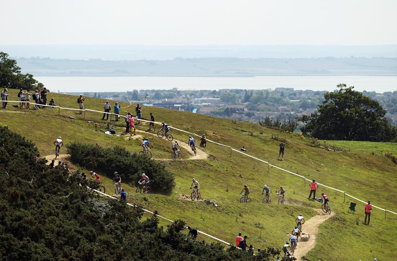 HADLEIGH, ENGLAND - JULY 31:  A general view of the LOCOG Mountain Bike Test Event for London 2012 at Hadleigh Farm on July 31, 2011 in Hadleigh, England.  (Photo by Bryn Lennon/Getty Images)