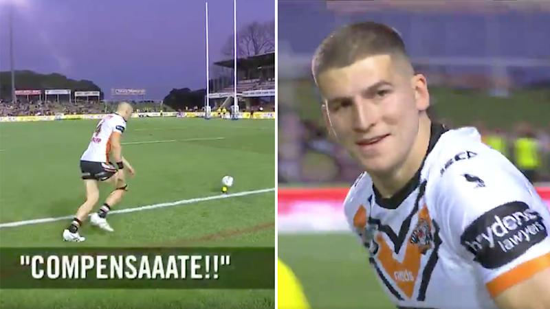 Adam Doueihi is seen here smiling at the sledging fan after his sideline conversion against Manly.