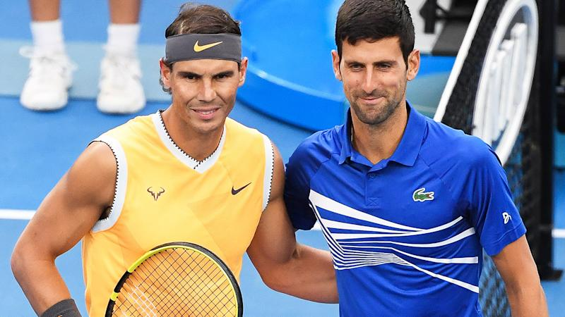 Rafael Nadal and Novak Djokovic, pictured here at the 2019 Australian Open.