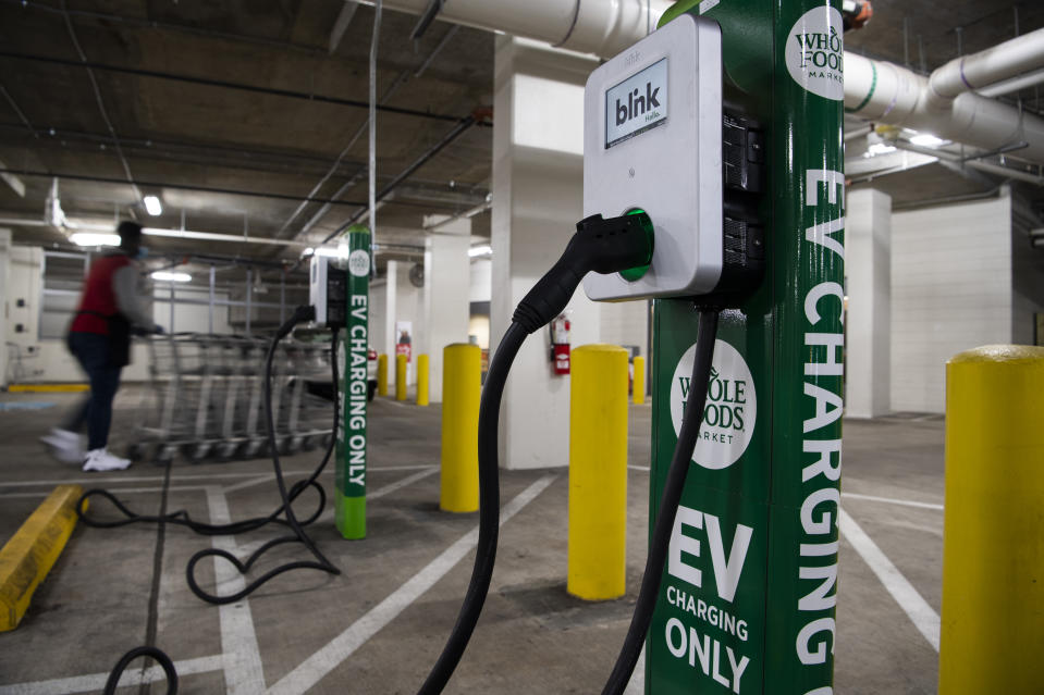 UNITED STATES - MARCH 31: A Blink Charging station is seen in a Washington, D.C., Whole Foods parking garage on Wednesday, March 31, 2021. (Photo By Tom Williams/CQ-Roll Call, Inc via Getty Images)