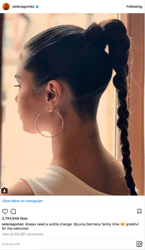 Selena Gomez has taken to her Instagram to post her new undercut. She's had her hair completely shaved underneath her ponytail. Source: Instagram/selenagomez