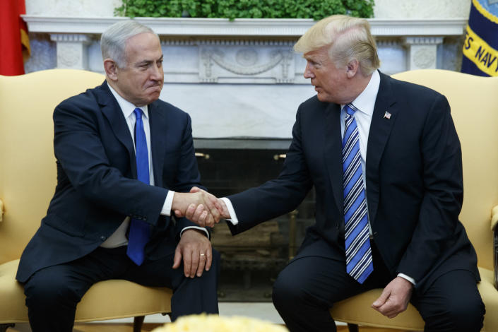 President Trump meets with Israeli Prime Minister Benjamin Netanyahu in the Oval Office on March 5. (Photo: Evan Vucci/AP)