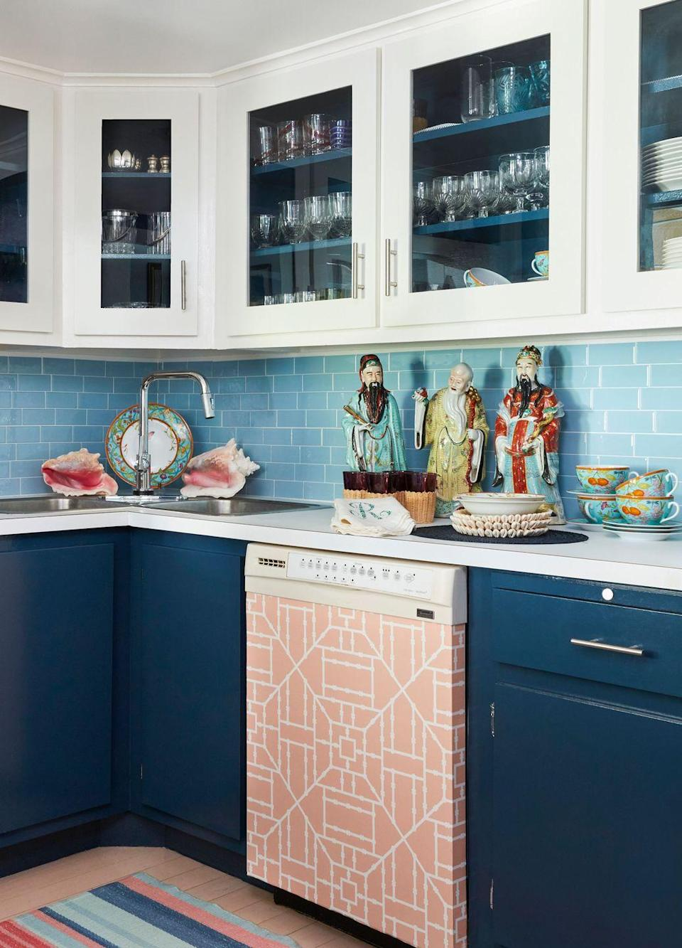 "<p>Steal this idea from Danielle Rollins and pretty up your ugly appliances with contact paper or vinyl wallpaper. <a href=""https://www.housebeautiful.com/design-inspiration/a31247634/danielle-rollins-ugly-dishwasher-makeover/"" rel=""nofollow noopener"" target=""_blank"" data-ylk=""slk:Here's how."" class=""link rapid-noclick-resp"">Here's how.</a></p>"