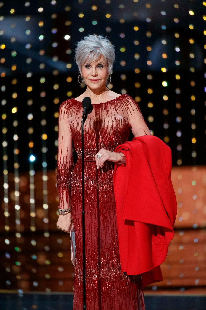 Jane Fonda at the Oscars 2020 in a recycled dress to confirm her commitment to never buying any new clothes (Getty)