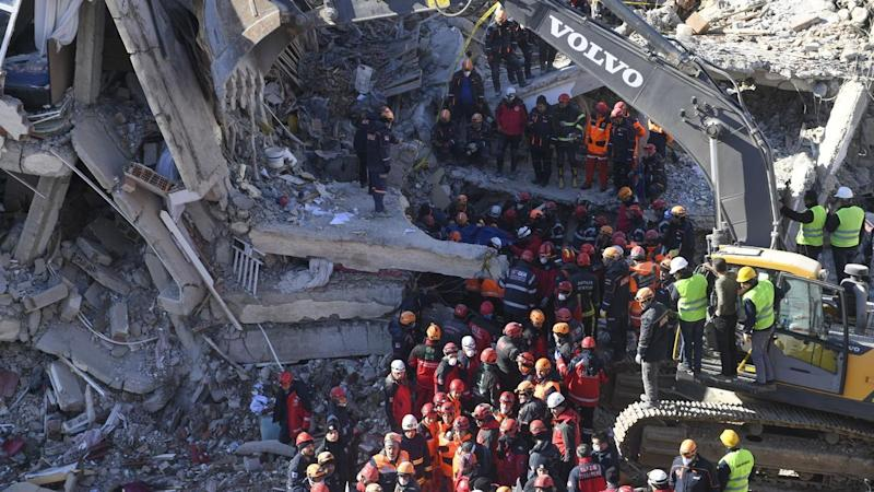 Rescuers are continuing to look for people trapped under debris following an earthquake in Turkey