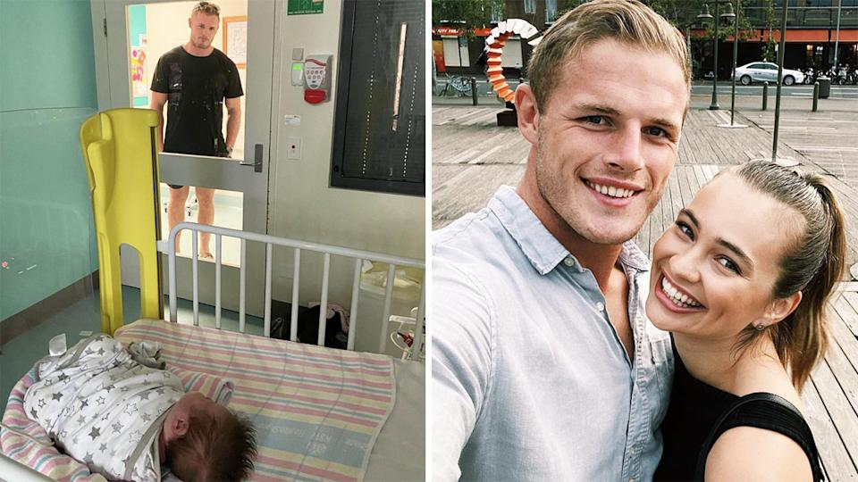 Tahlia Giumelli, the fiancee of NRL star Tom Burgess, has shared a heartbreaking photo of Burgess separated from his daughter due to coronavirus protocols in hospital. Pictures: Instagram/tahliagiumelli