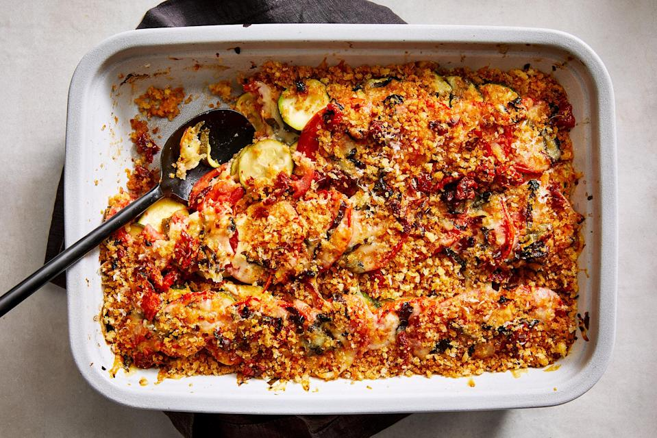 <p>The combination of sweet tomatoes and zucchini with melted cheese in this zucchini-tomato casserole tastes like a summer-fresh pizza. It's the perfect easy side dish for any summer meal.</p>