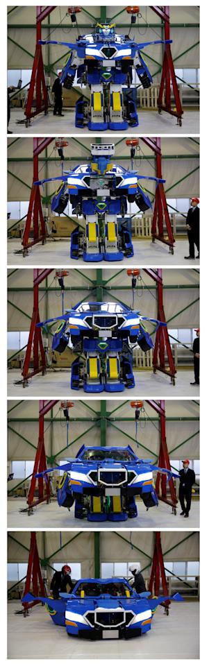 "A combination picture shows a new transforming robot called ""J-deite RIDE"" that transforms itself into a passenger vehicle, developed by Brave Robotics Inc, Asratec Corp and Sansei Technologies Inc, demonstrating during its unveiling at a factory near Tokyo, Japan, April 25, 2018. Picture taken April 25, 2018.  REUTERS/Toru Hanai     TPX IMAGES OF THE DAY"