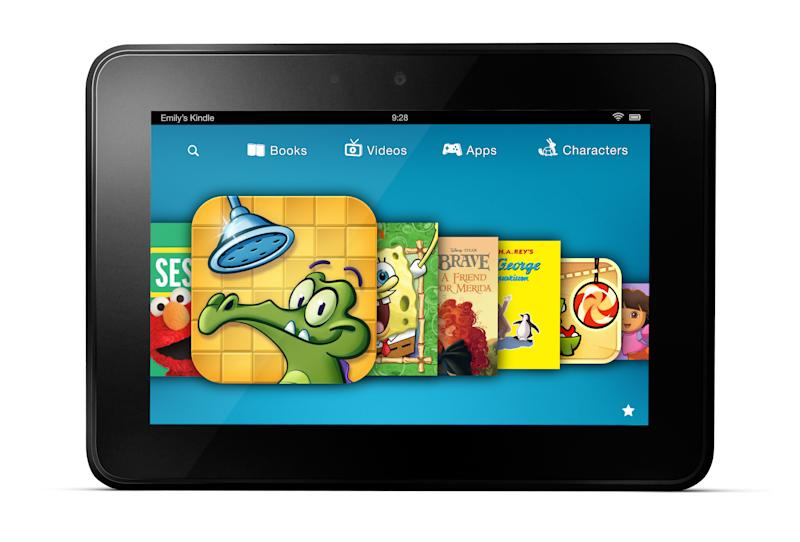 This image provided by Amazon shows a new subscription service for children's games, videos and books aimed at getting more kids to use its Kindle Fire tablet devices.  Amazon.com Inc. plans to announce Wednesday, Dec. 5, 2012 that the Kindle FreeTime Unlimited service will be available in the next few weeks as part of an automatic software update. (AP Photo/Amazon)