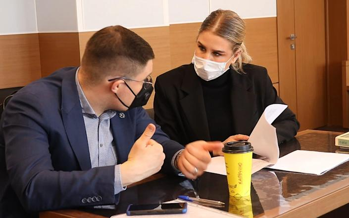 Lyubov Sobol and her lawyer Vladimir Voronin during a hearing into an appeal against her breaking and entering case - Perovsky District Court