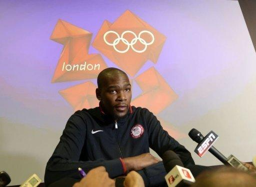 Kevin Durant of the 2012 USA Basketball Men's National Team speaks during a press conference in London. Among US NBA players at London, only Durant, Russell Westbrook, Kevin Love, James Harden and 2012 NBA Draft top pick Anthony Davis would be eligible if the age limit was 23