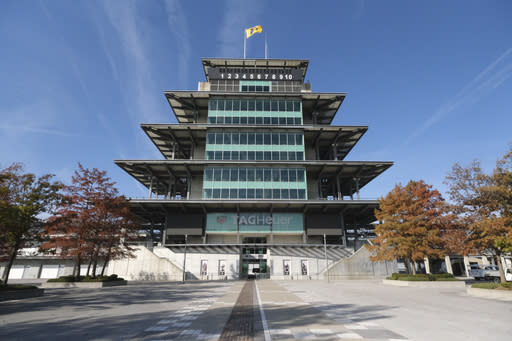 The timing and scoring Pagoda at the Indianapolis Motor Speedway is shown Monday, Nov. 4, 2019. Indianapolis Motor Speedway and the IndyCar Series were sold to Penske Entertainment Corp. in a stunning move Monday that relinquishes control of the iconic speedway from the Hulman family after 74 years. (AP Photo/AJ Mast)