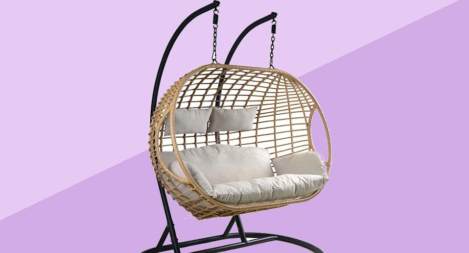 You can now buy an ultimate two-person hanging egg chair. (Robert Dyas)