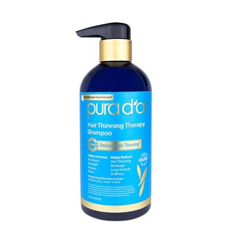 """<h3>Pura d'or Hair Thinning Therapy Shampoo<br></h3><br>It's tough to surf hair-thinning forums on Reddit without seeing mention of this shampoo, which uses 15 botanical and food-grade DHT blockers (like biotin, niacin, and grapefruit seed oil) to help counter constricting hair follicles. The vegan and cruelty-free formula skips SLS and other traditional surfactants for more gentle versions and smells like lemongrass, to boot. """"I'm a big fan of going gentle on the scalp and limiting the amount of harsh detergents we use to wash our hair,"""" says Yates.<br><br><strong>Pura d'or</strong> Hair Thinning Therapy Shampoo, $, available at <a href=""""https://go.skimresources.com/?id=30283X879131&url=https%3A%2F%2Fwww.target.com%2Fp%2Fpura-d-or-hair-thinning-therapy-shampoo-16-fl-oz%2F-%2FA-17233586"""" rel=""""nofollow noopener"""" target=""""_blank"""" data-ylk=""""slk:Target"""" class=""""link rapid-noclick-resp"""">Target</a>"""
