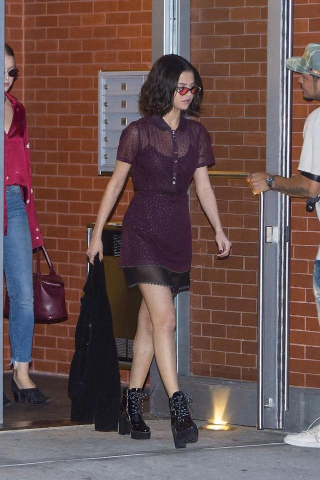 <p>Gomez was spotted in Greenwich Village on the day of the Coach show, already sporting a dress from their collection. (Photo: Getty Images) </p>