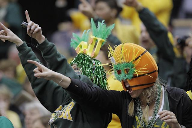 Baylor fans cheer during player introduction before the NCAA women's Final Four college basketball championship game against Notre Dame, in Denver, Tuesday, April 3, 2012. (AP Photo/Julie Jacobson)